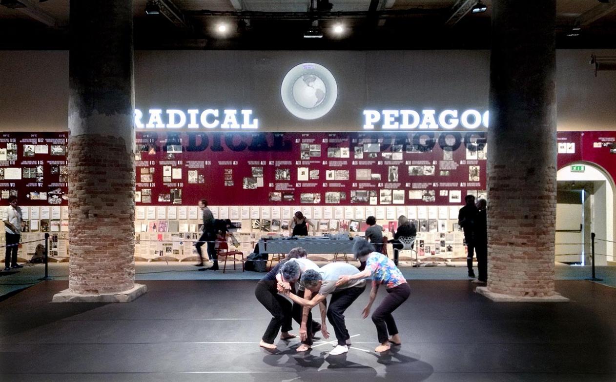 Radical Pedagogies with dance rehearsal in the foreground. Photo: Evangelos Kotsioris.