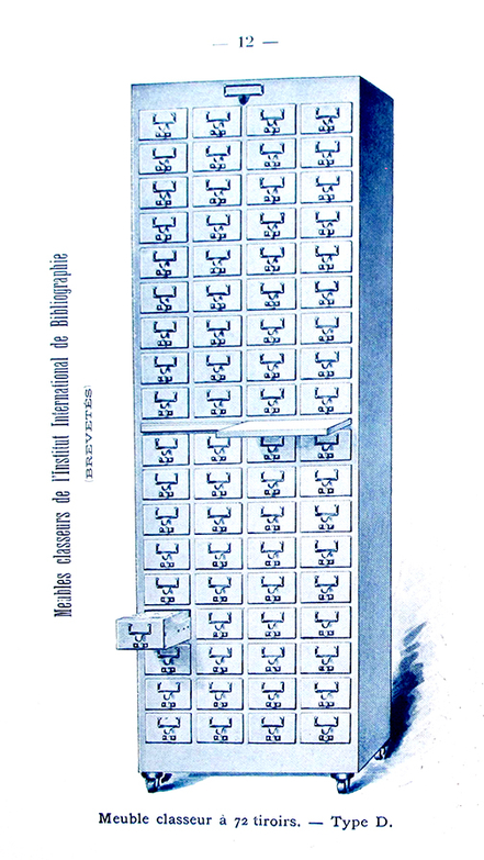 "Type ""D"" card catalog recommended by the International Institute of Bibliography and manufactured by Damman et Washer & Cie in Brussels. From trade catalog, ca. 1900."