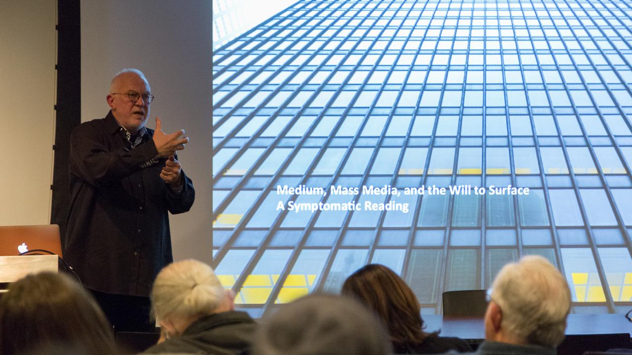 K. Michael Hays speaking in Betts Auditorium  (Photo: Daniel Claro).