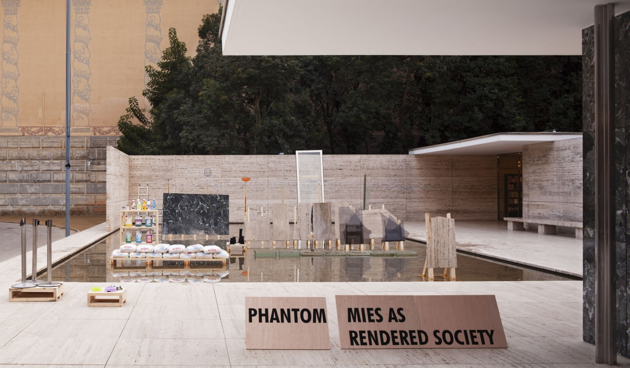PHANTOM. Mies as Rendered Society, Barcelona Pavilion. Andrés Jaque/Office for Political Innovation.