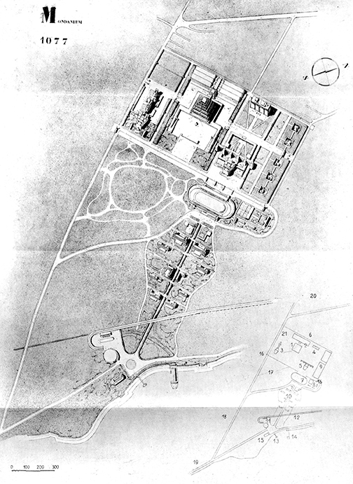 Le Corbusier's project for a Mundaneum (1928), conceived based on Paul Otlet's program.