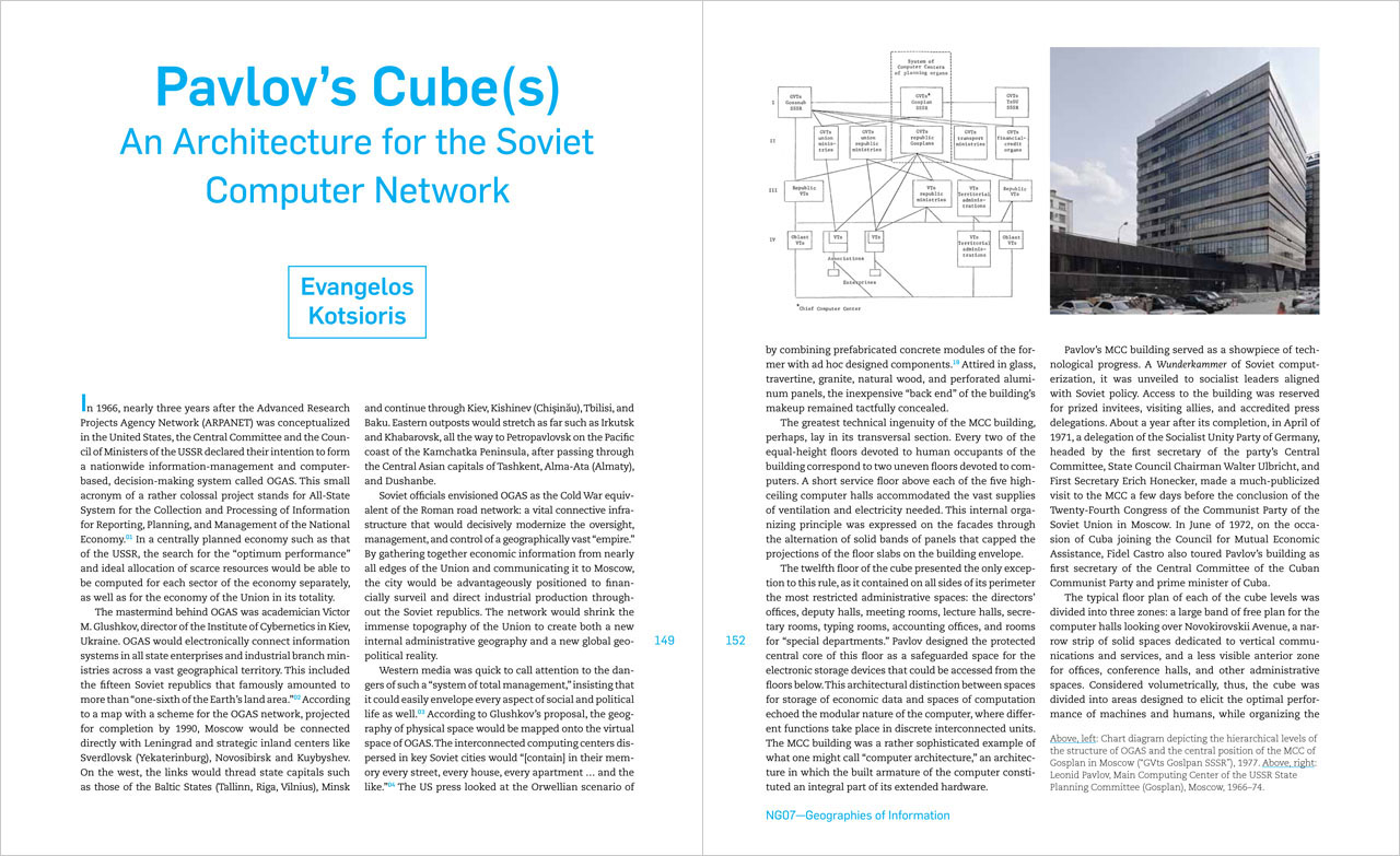 """Pavlov's cube(s): Designing for the Soviet Computer Network,"" New Geographies 7: Geographies of Information, Harvard University Press (2015)"
