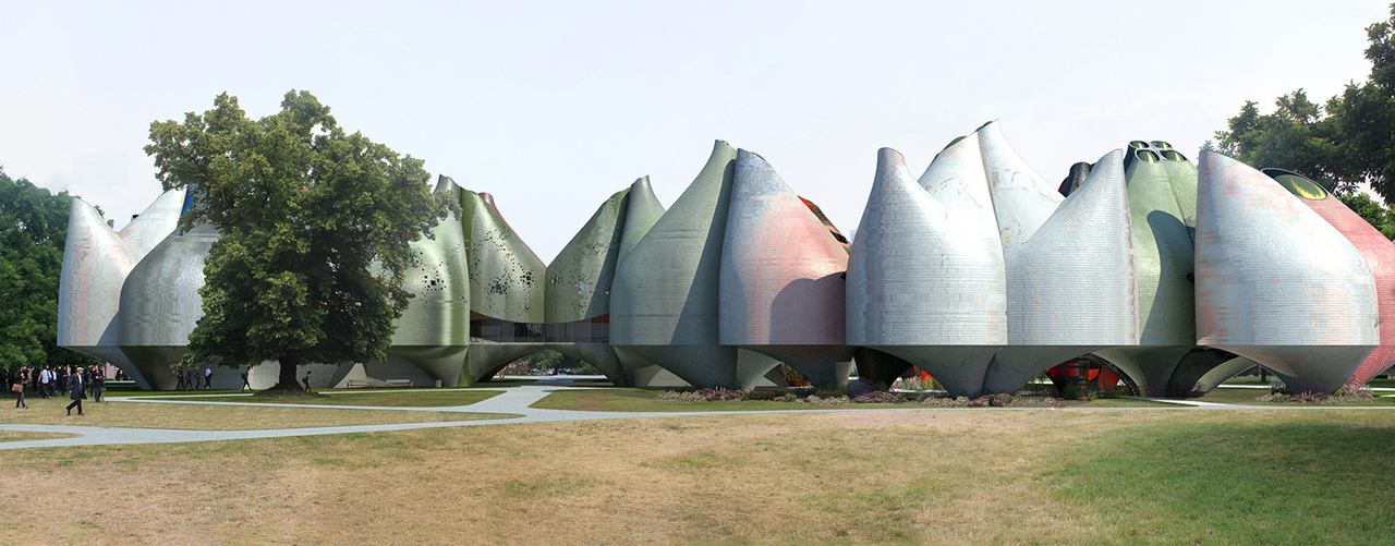 "Young & Ayata, ""Vessel Collective."" Park view, Bauhaus Museum Dessau."