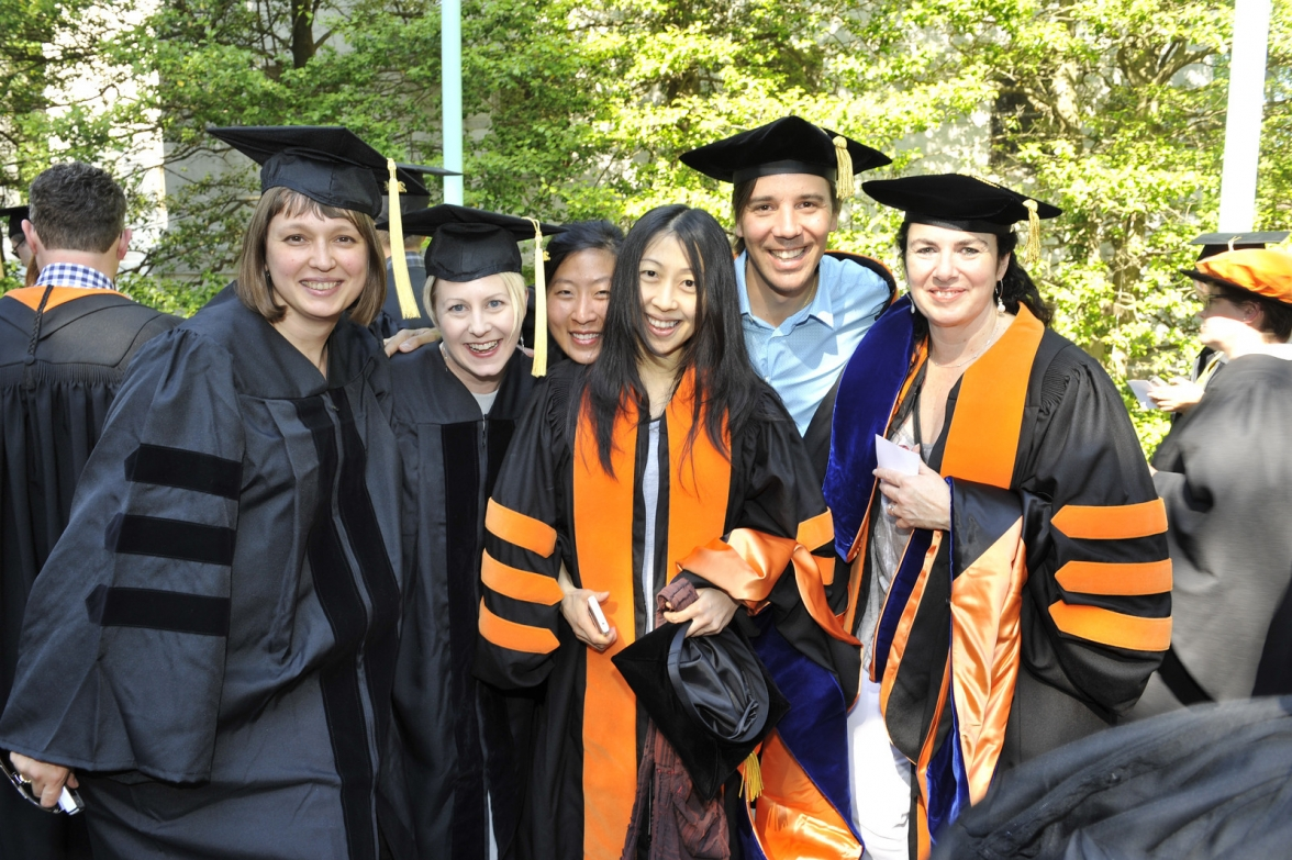 From left, PhD students Diana Kurkovsky West, Molly Steenson, Irene Sunwoo, Lisa Hsieh, Daniel Lopez-Perez, and Alicia Imperiale.