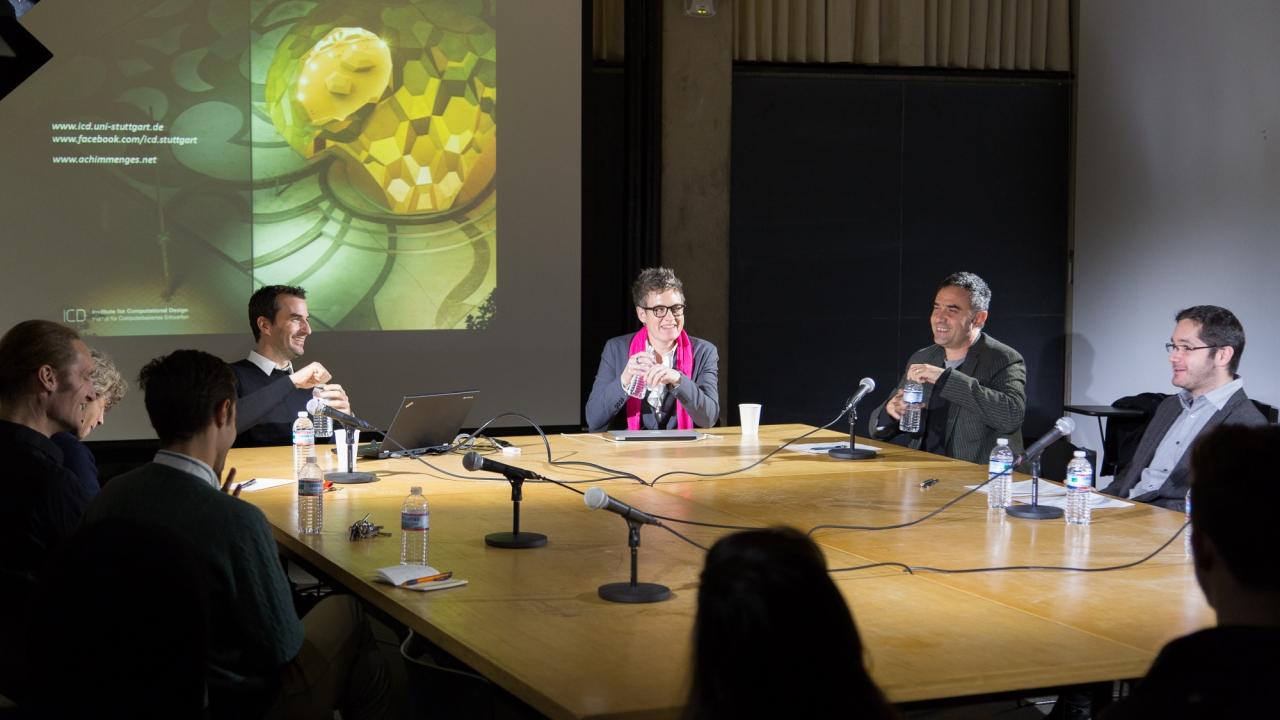 From left: Ryan Johns, Axel Kilian, Christine Boyer, Achim Menges, Jenny Sabin, Alejandro Zaera-Polo, and Martin Cobas Sosa. Photo: Dan Claro.