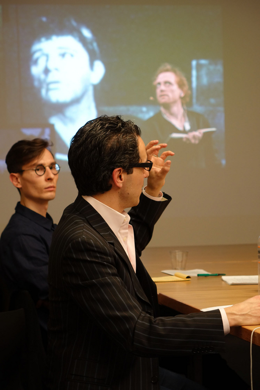 From right:  Noam M. Elcott, Michael Faciejew. Photograph by Martin Cobas.