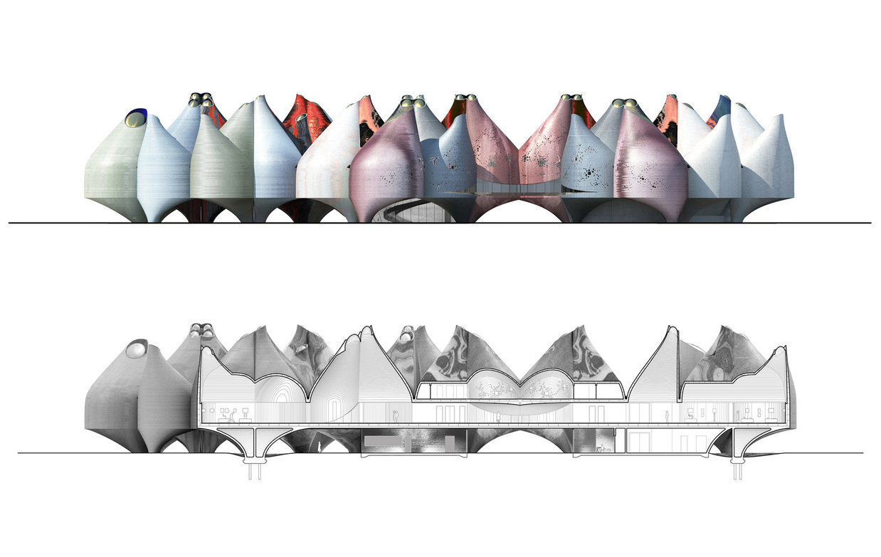 "Young & Ayata, ""Vessel Collective."" Museum Elevation and section, Bauhaus Museum Dessau."