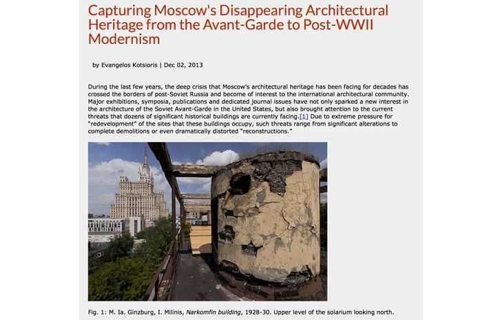 """Capturing Moscow's Disappearing Architectural Heritage from the Avant-Garde to Post-WWII Modernism."" For SAH, 2013."