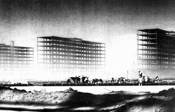 Oscar Niemeyer, exterior view of the ministries of Brasilia during construction, ca. 1958-60.