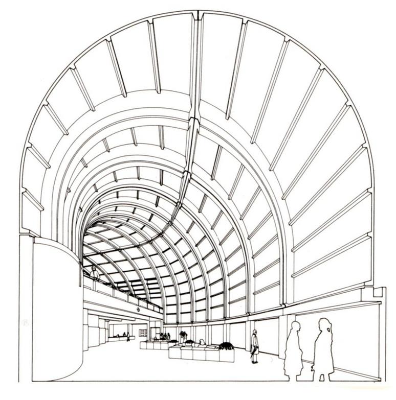 Arata Isozaki, Kitakyushu Library, Fukuoka, Fukuoka, Japan, 1973-1974. Interior perspective, library entrance.