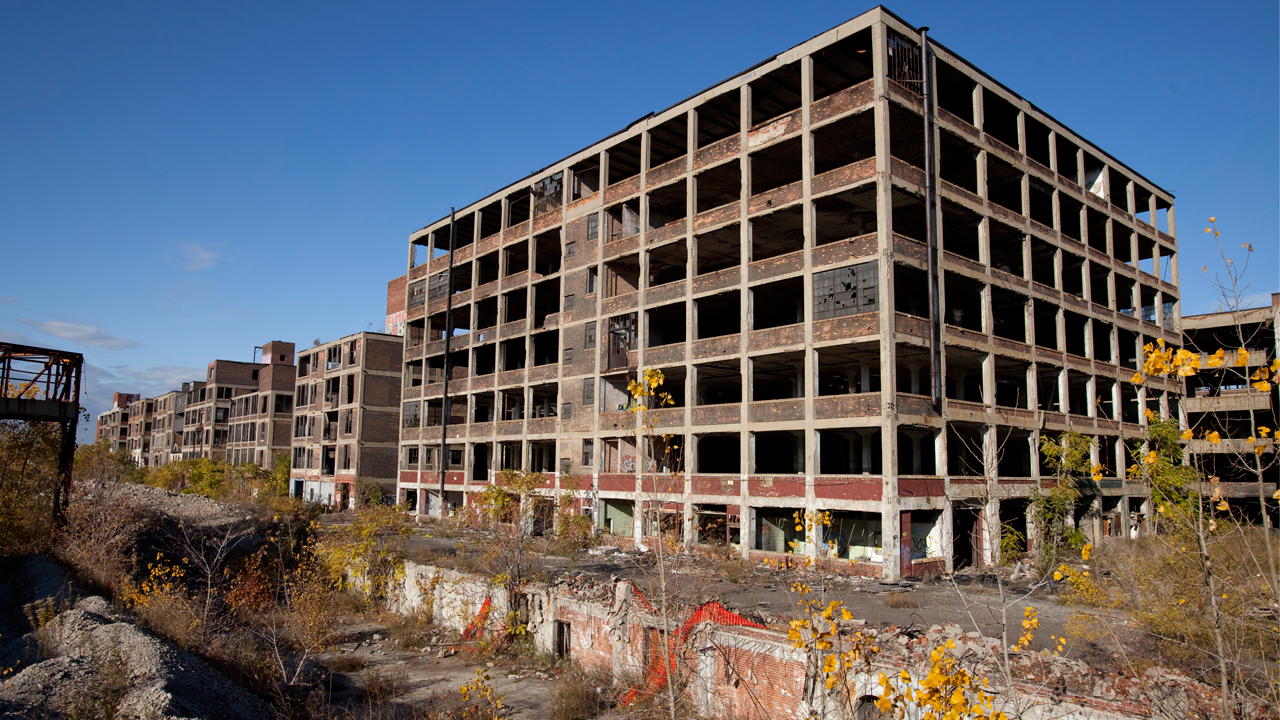 Western part of the abandoned Packard Automotive Plant in Detroit, Michigan. October 2009. From Wikimedia Commons, by Albert Duce