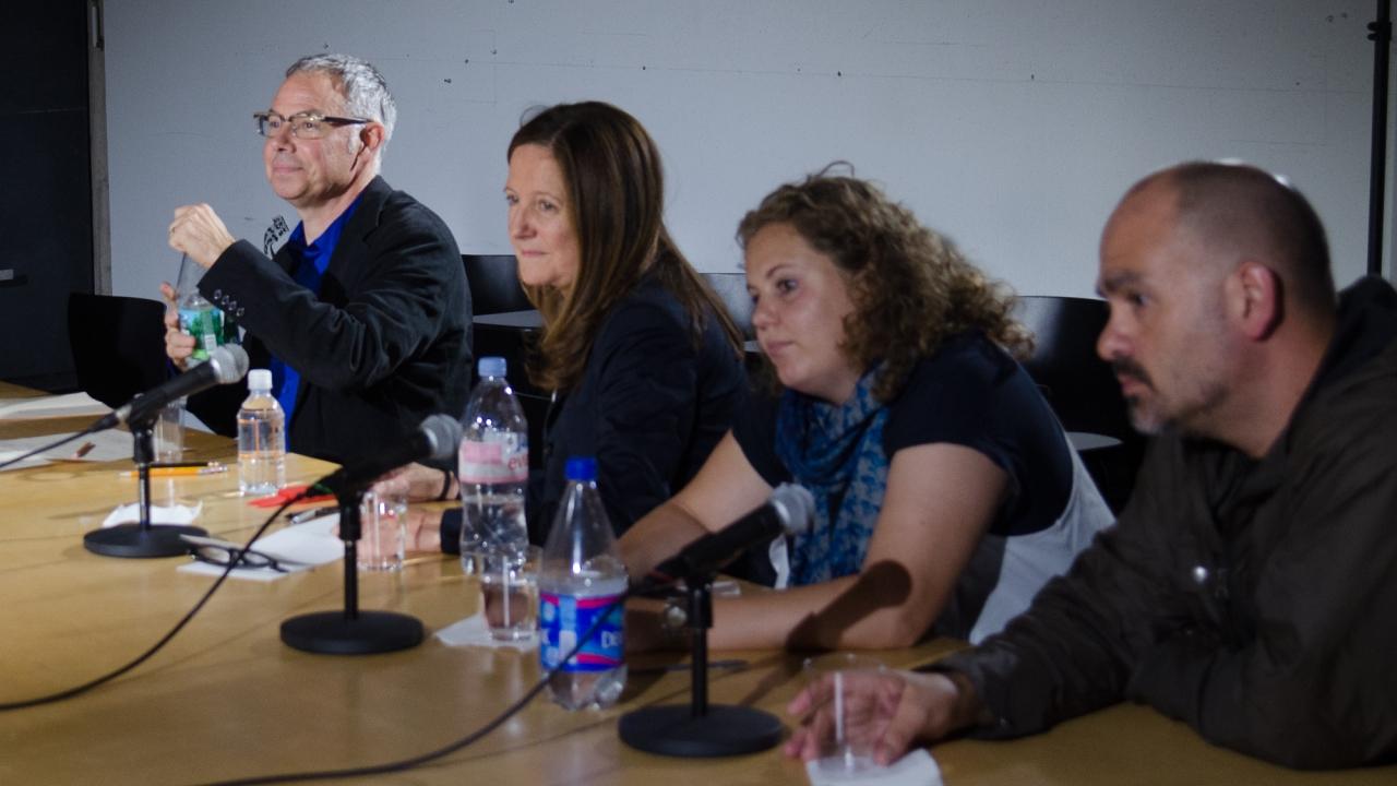 Stan Allen, Beatriz Colomina, Milou Teeling, and Enrique Ramirez. Photo by Dan Claro.