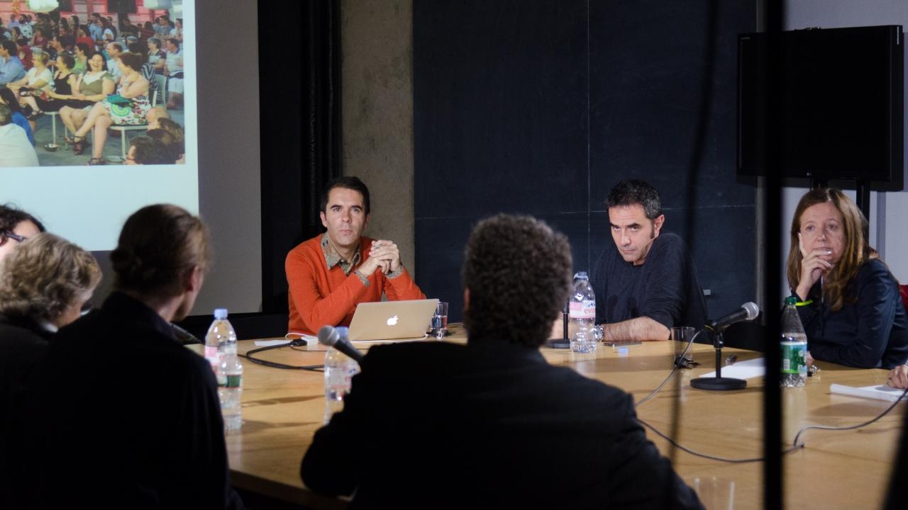 Michael Young, Axel Kilian, Christine Boyer, Anne-Marie Meister, Andrés Jaque, Alejandro Zaera-Polo, and Beatriz Colomina. Photo by Dan Claro.