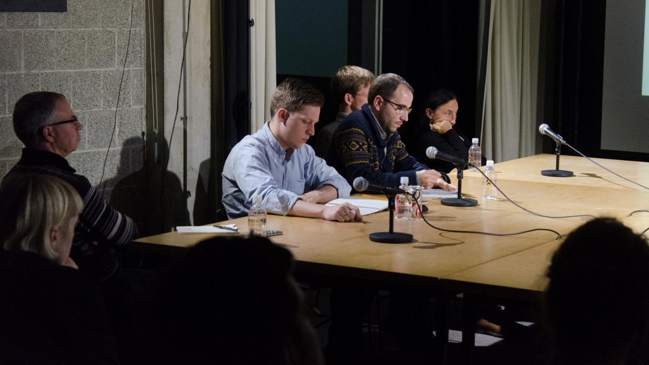 Stan Allen, Hans Tursack, Lluis Alexandre Casanovas Blanco, Forrest Meggers, and Sylvia Lavin. Photo by Dan Claro.