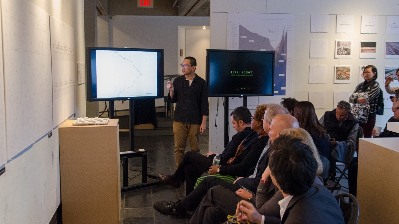 """Fei Wang,  """"Rural Agency: Re-envisioning Chinese Rural Development in the Age of the Digital Economy."""" Advisor: Axel Kilian. Photo by Dan Claro."""