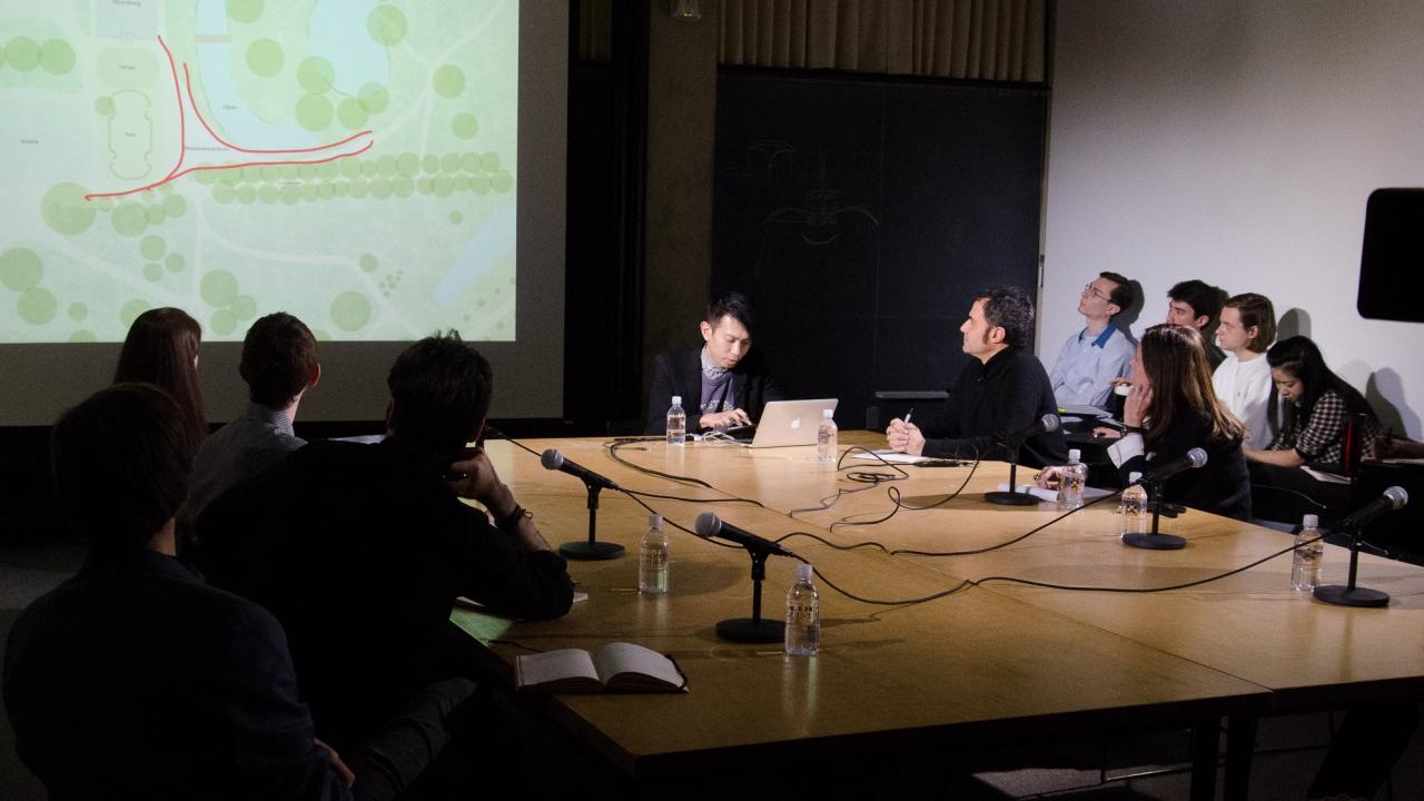 From left: Forrest Meggers, José Aragüez, Andrew Frame, Laura Britton, Junya Ishigami, Alejandro Zaera-Polo, Beatriz Colomina, and Axel Kilian.  Photo by Dan Claro.