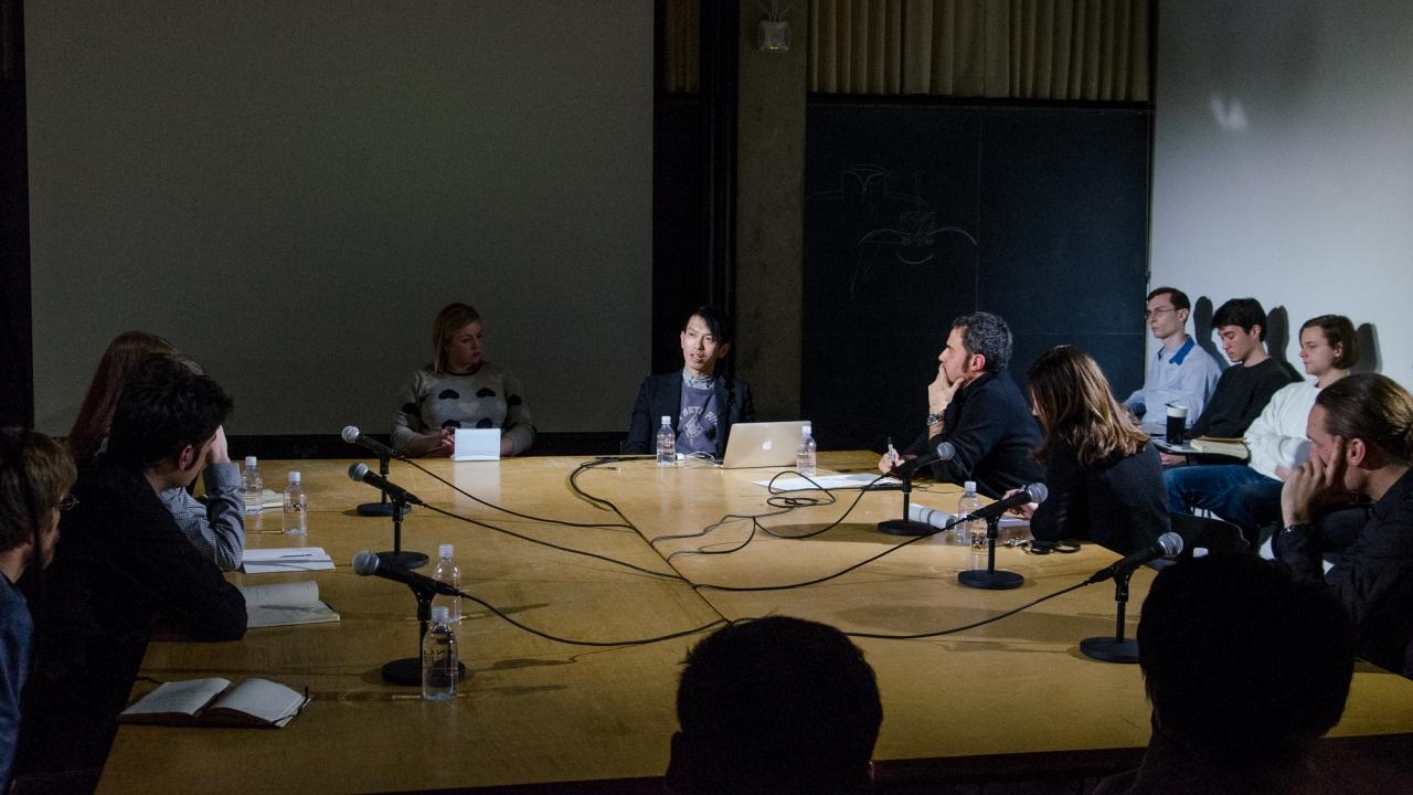 From left: Forrest Meggers, José Aragüez, Andrew Frame, Laura Britton, Claire Cooper, Junya Ishigami, Alejandro Zaera-Polo, Beatriz Colomina, and Axel Kilian.  Photo by Dan Claro.