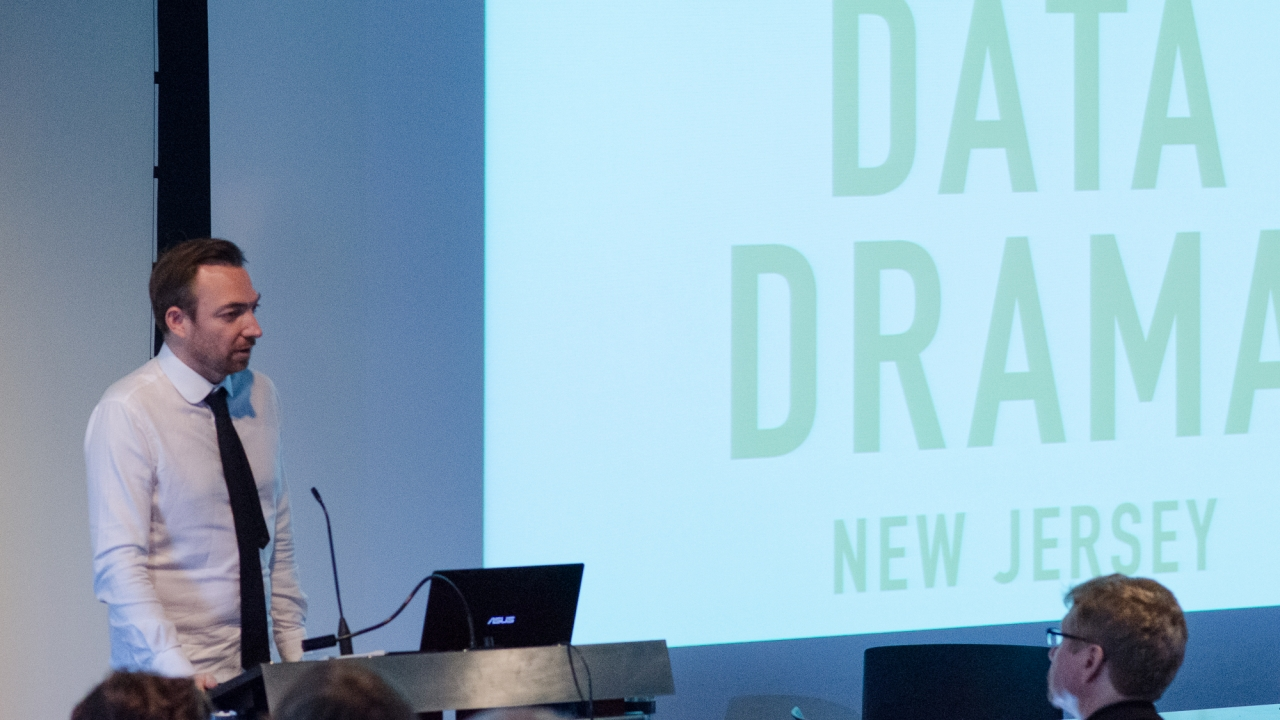 Liam Young introduces the Data Drama conference.  Photo by Dan Claro.
