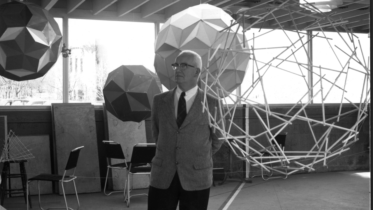 Fuller, surrounded by geodesic models in the Architectural Laboratory at Princeton, c. 1953. School of Architecture Archive, Princeton University. Reproduced with permission of the Estate of R. Buckminster Fuller