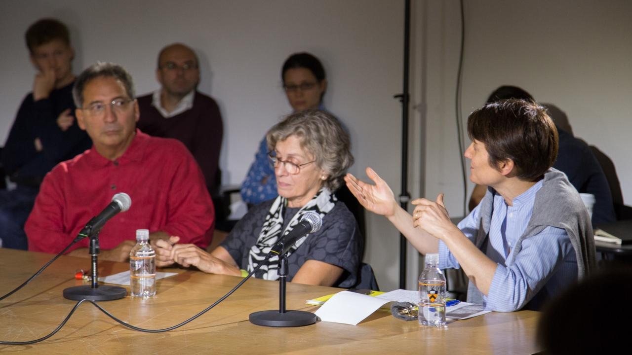 From left at the table: Eduardo Cadava,  Christine Boyer, and Lucia Allais.  Photo by Dan Claro.