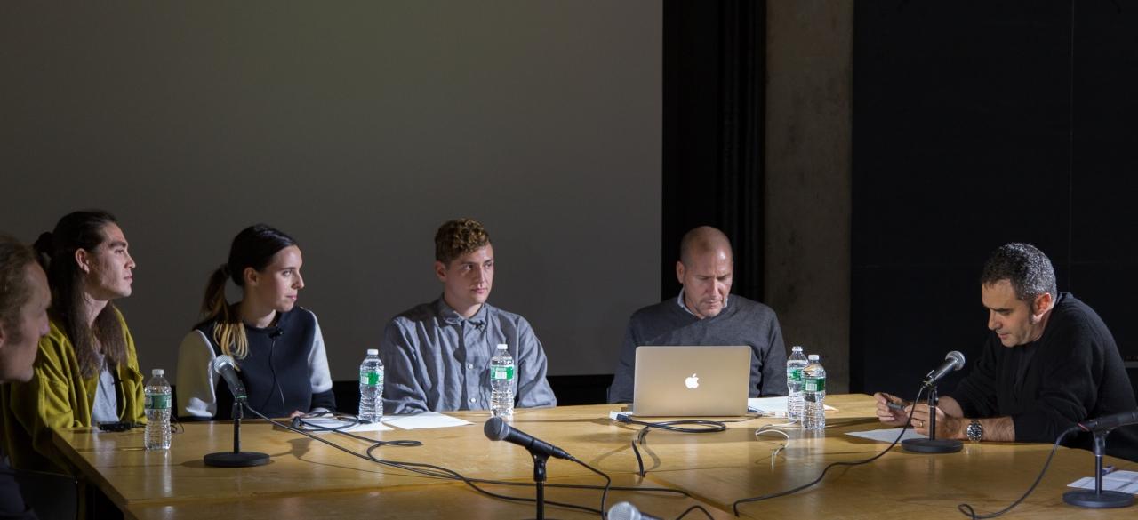 From left: Axel Kilian, Gregory Fong, Emily Segal, Sean Monahan, Michael Rock, and Alejandro Zaera-Polo.  Photo: Dan Claro.