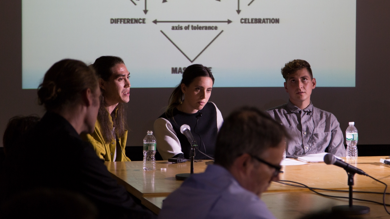 From left: Michael Meredith, Axel Kilian, Gregory Fong, Emily Segal, and Sean Monahan.  Photo: Dan Claro.