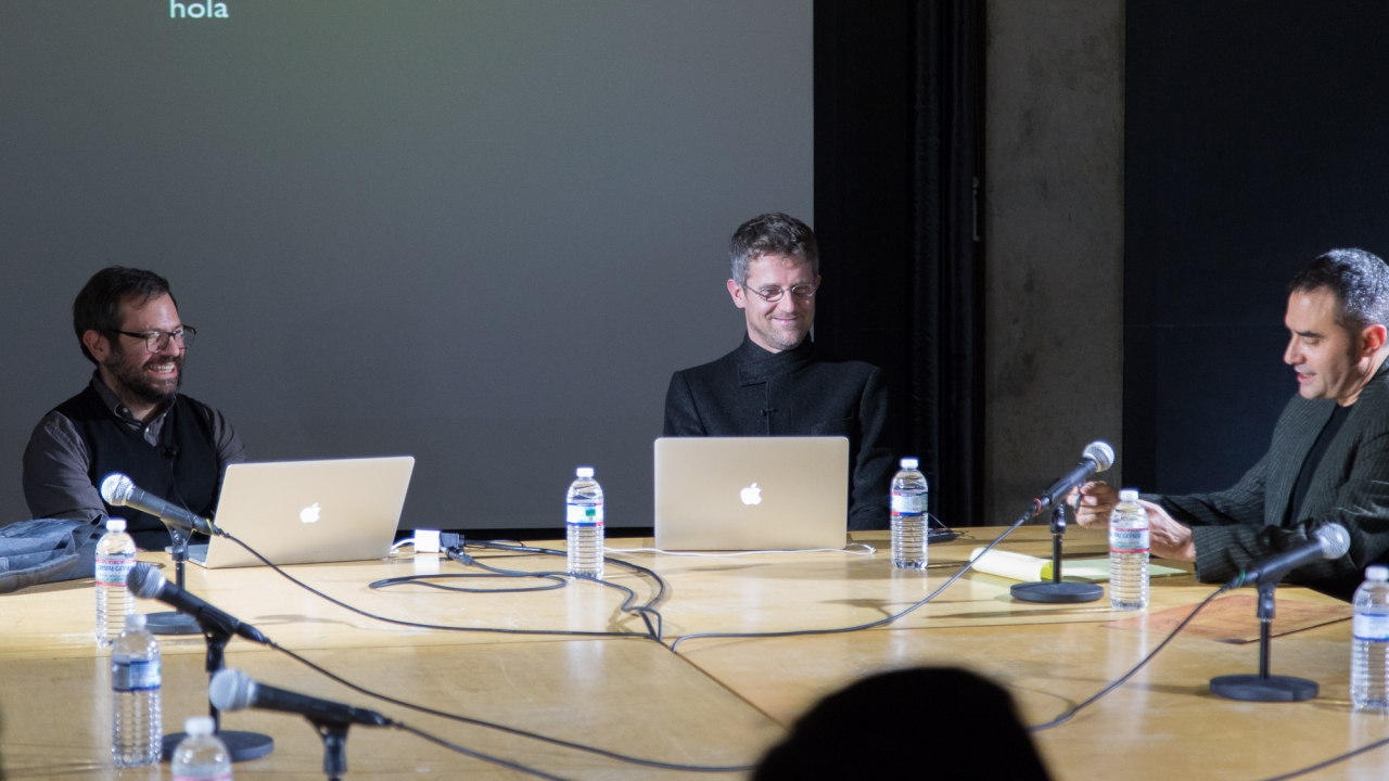 Pedro Reyes, Carlo Ratti, and Alejandro Zaera-Polo.  Photo: Dan Claro.