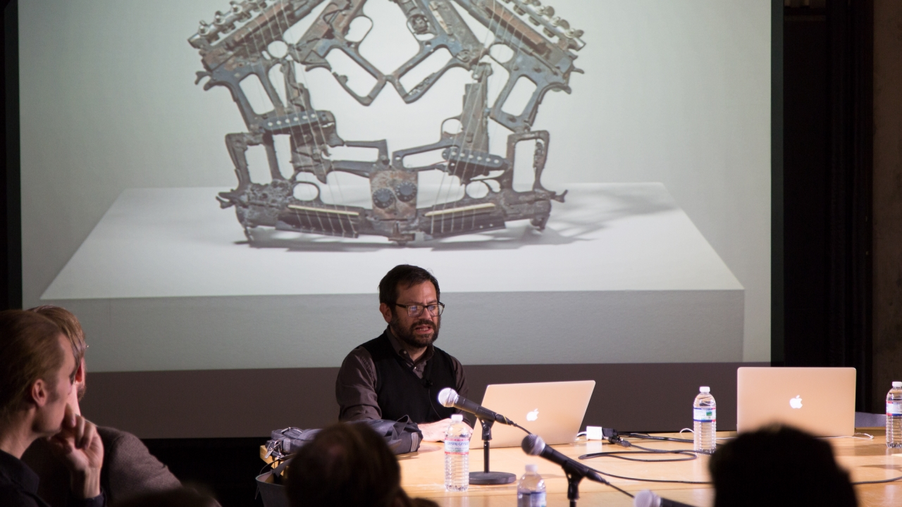 From left at table: Axel Kilian, Forrest Meggers, and Pedro Reyes.  Photo: Dan Claro.