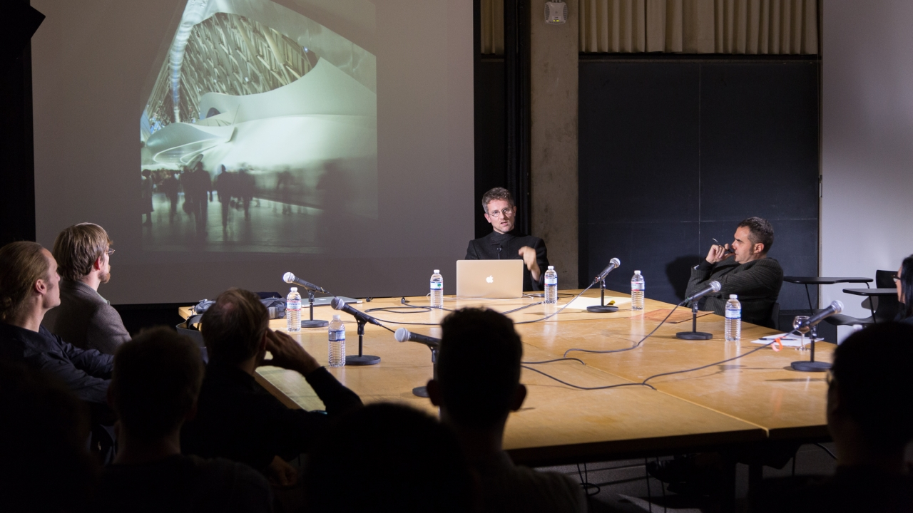 From left at table: Liam Young, Axel Kilian, Forrest Meggers, Carlo Ratti, Alejandro Zaera-Polo, and Sylvia Lavin.  Photo: Dan Claro.