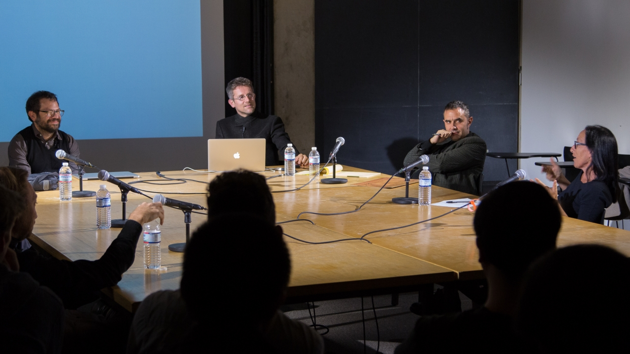 From left at table: Liam Young, Pedro Reyes, Carlo Ratti, Alejandro Zaera-Polo, and Sylvia Lavin.  Photo: Dan Claro.