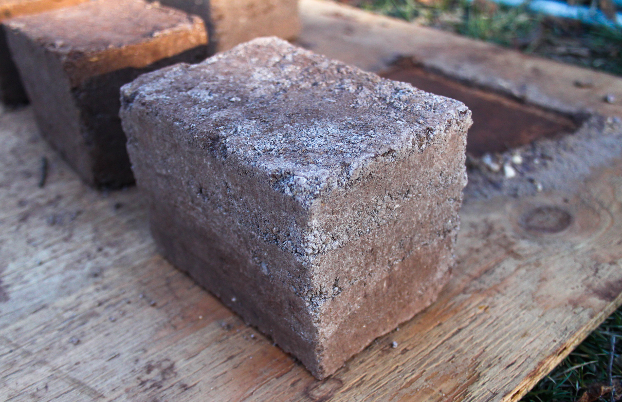 Earth brick made by Pelin Asa to investigate durability (Photo: Pelin Asa).
