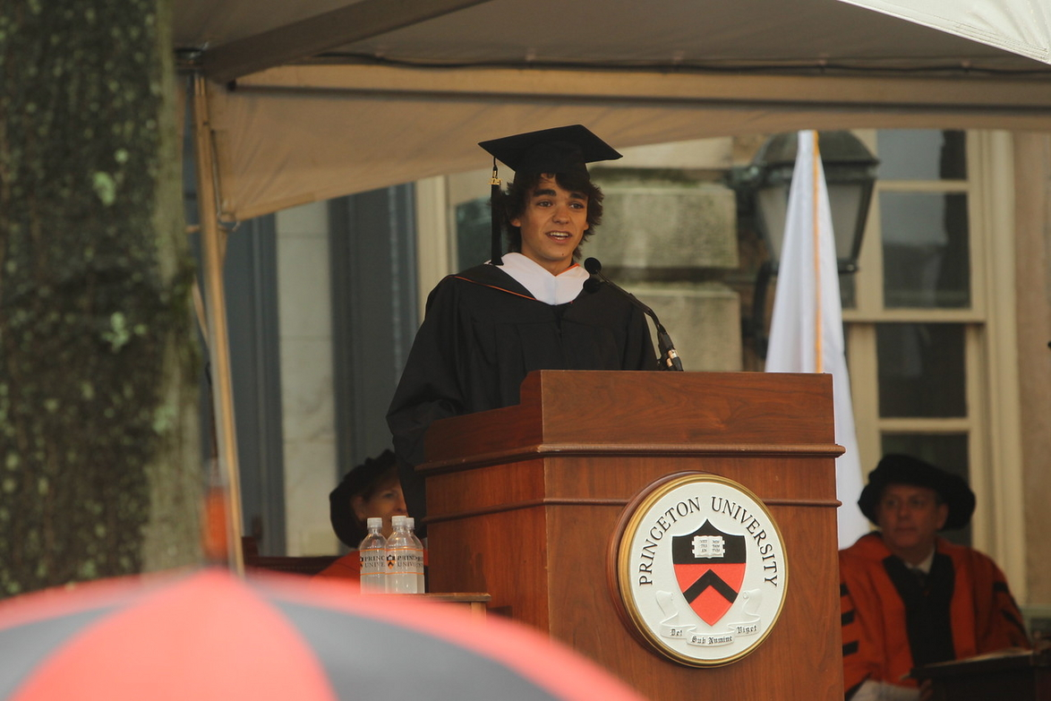 "Misha Semenov, an architecture major from San Francisco, gives the valedictory oration, urging fellow graduates to hold on to a sense of wonder and ""never, ever grow up""   (Photo by Denise Applewhite, Office of Communications)."