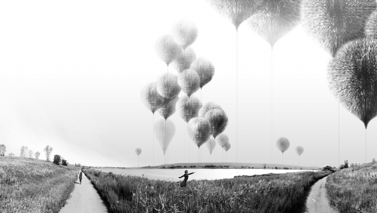 Mixed Media Perspective, NAWT (NormalAxis Wind Turbine) Balloons. Published in Regenerative Infrastructures: Freshkills Park NYC, Land Art Generator Initiative (Prestel, 2013). Courtesy of Norman Kelley.