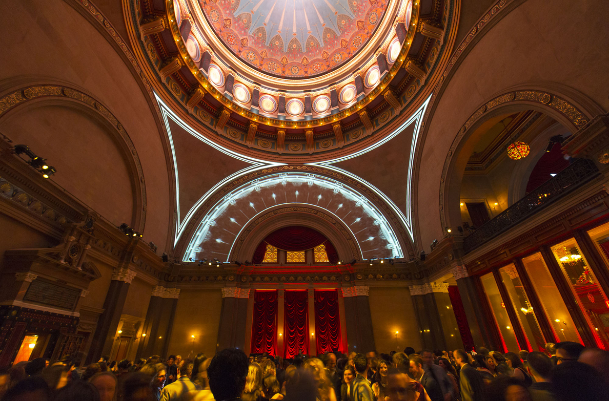A Dome Observed On Its Side, Digital Projection, Architectural League of New York, Beaux Arts Ball, 2014.  Photo by Mercedes Noriega.