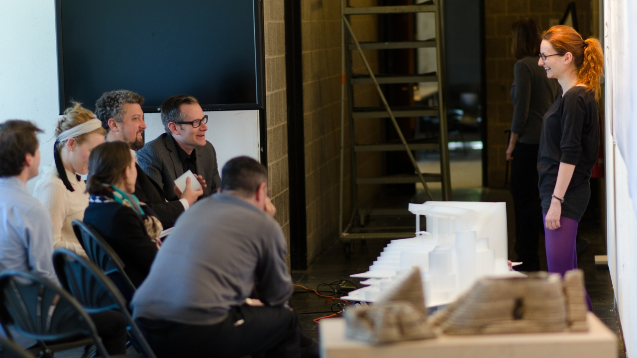 Denisa Buzatu presents in Paul Lewis' Intro to Architectural Design review.