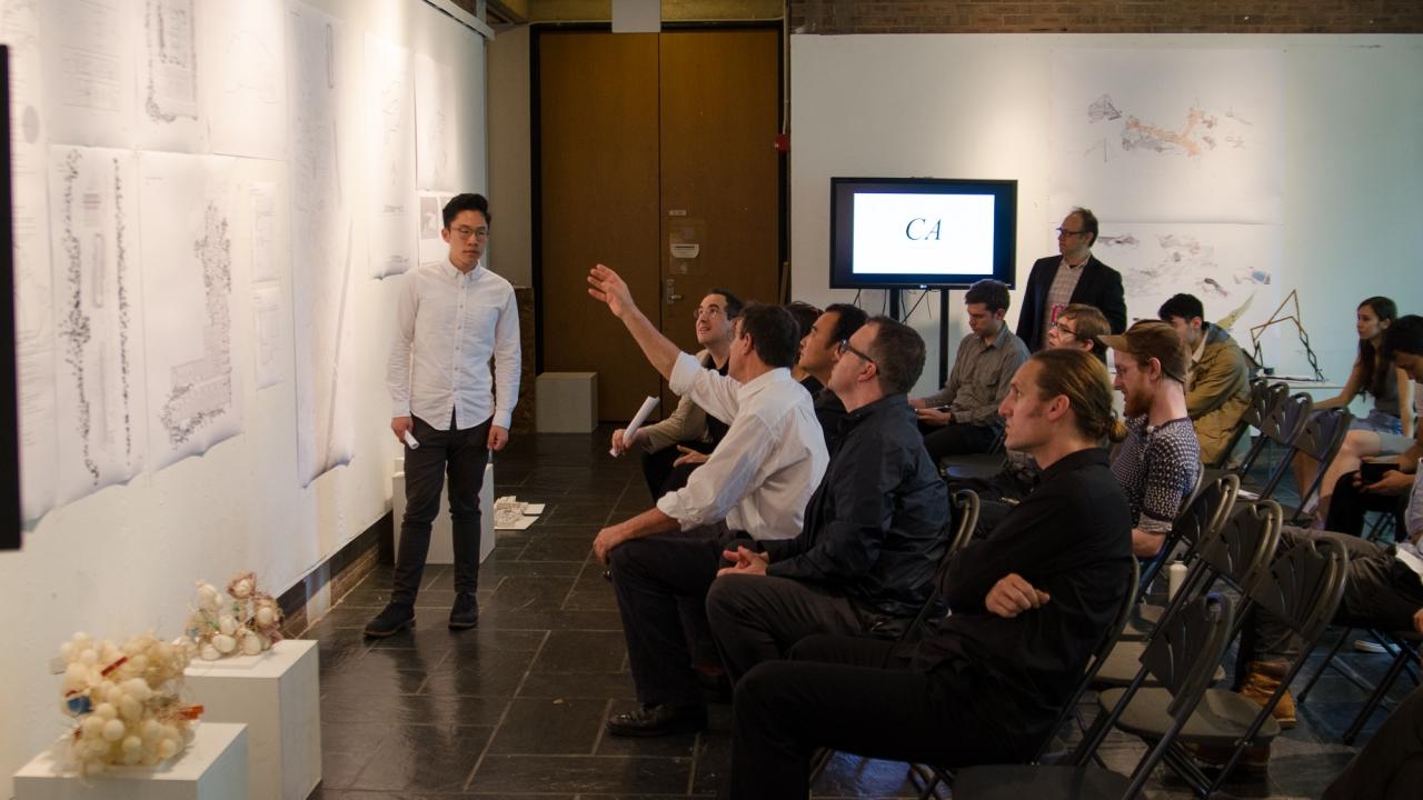 Loren Yu presents in Jesse Reiser's Design Studio.