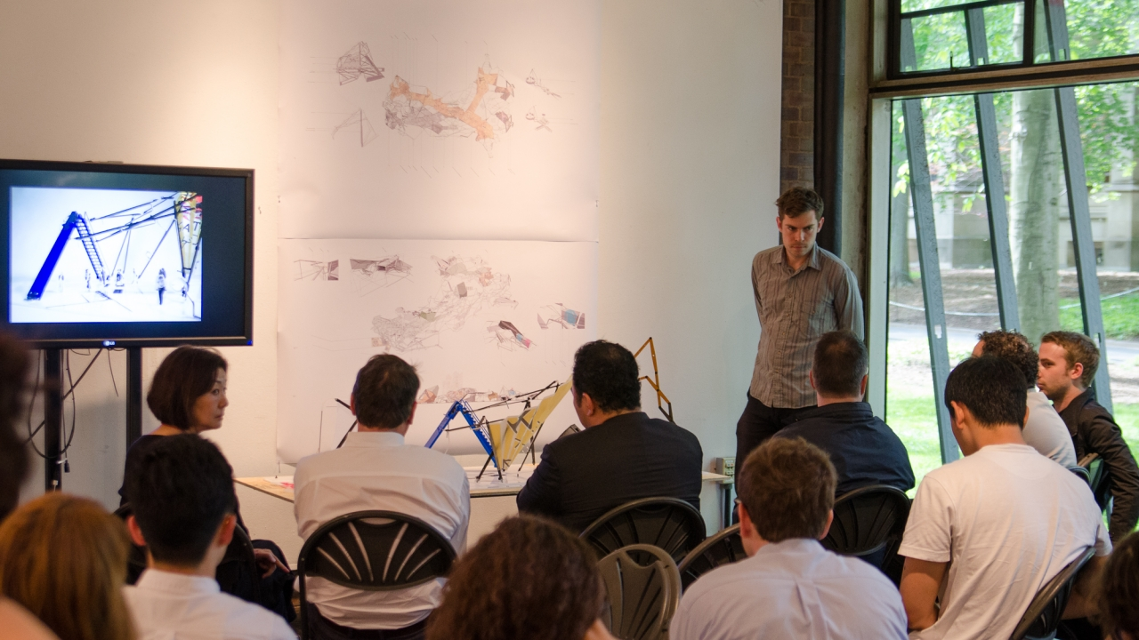 Griffin Fries-Briggs and Nick Pajerski present in Jesse Reiser's Design Studio.