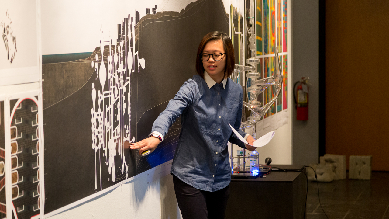 "Jaime (Ting Yan) Kwan, ""S.O.S. (Systems Optimized for Subterranean Architectures)"" (Faculty Advisor: Jesse Reiser and Forrest Meggers). Photo: Daniel Claro"