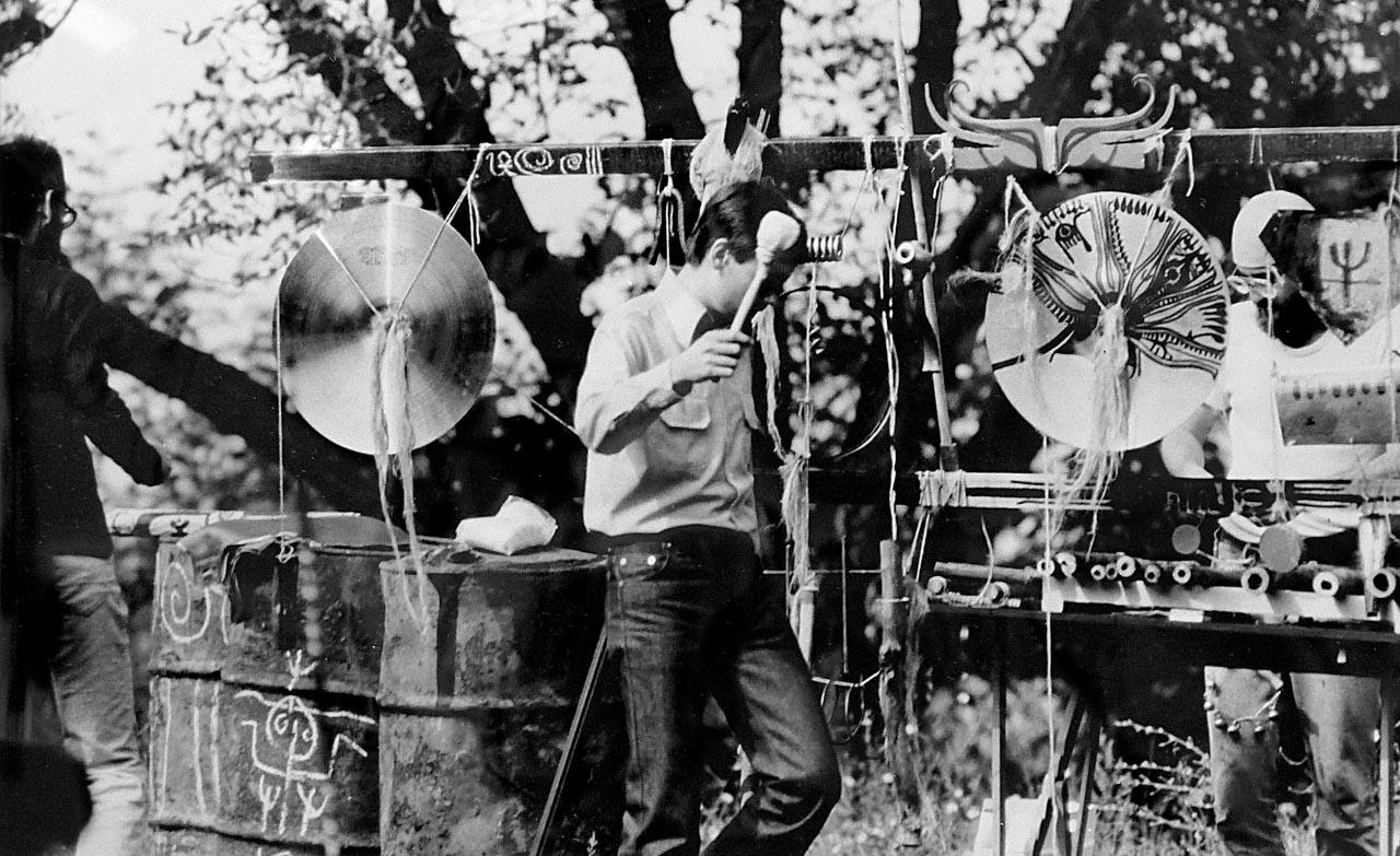 """Rabut Valley City,"" public happening at Bogdan Bogdanovic's Summer School in Mali Popovic, September 1980. Contributed by Vladimir Kulic."