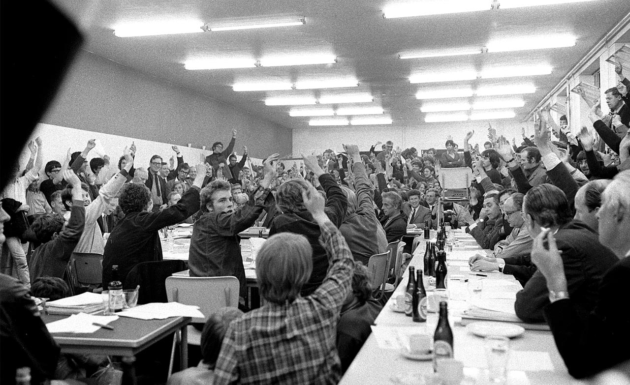 "Public voting during the first days of the ""democratization"" at TU Delft, May 9 1969. Contributed by Rutger Huiberts."