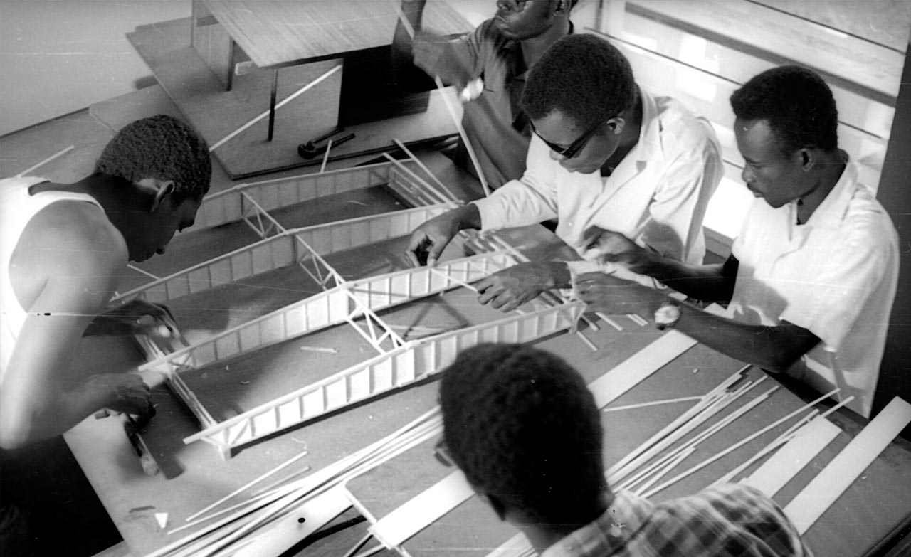 Students participating in the course 'Structures and Structural Design' at the Kumasi School of Architecture, Ghana, 1965. Contributed by Łukasz Stanek, Ola Uduku.
