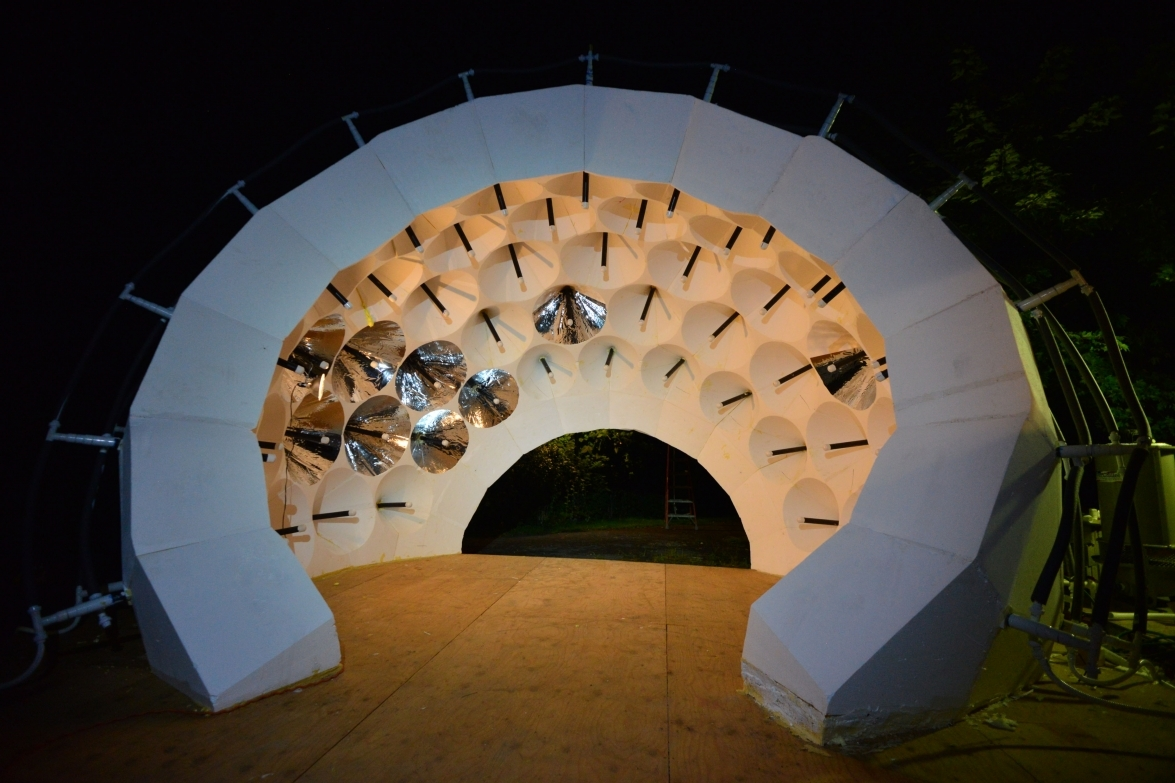 Assistant Professor Forrest Meggers' Thermoheliodome experiment on radiant evaporative cooling of a energy-informed pavilion digital robotic fabrication.