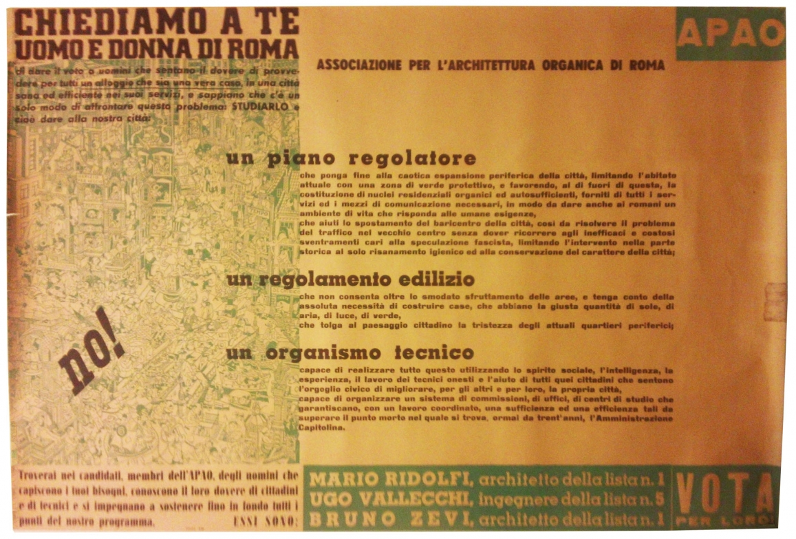 Political Poster, Rome Municipal Elections, Partito Associazione per l'architettura organica, ca. 1946, Fondazione Bruno Zevi