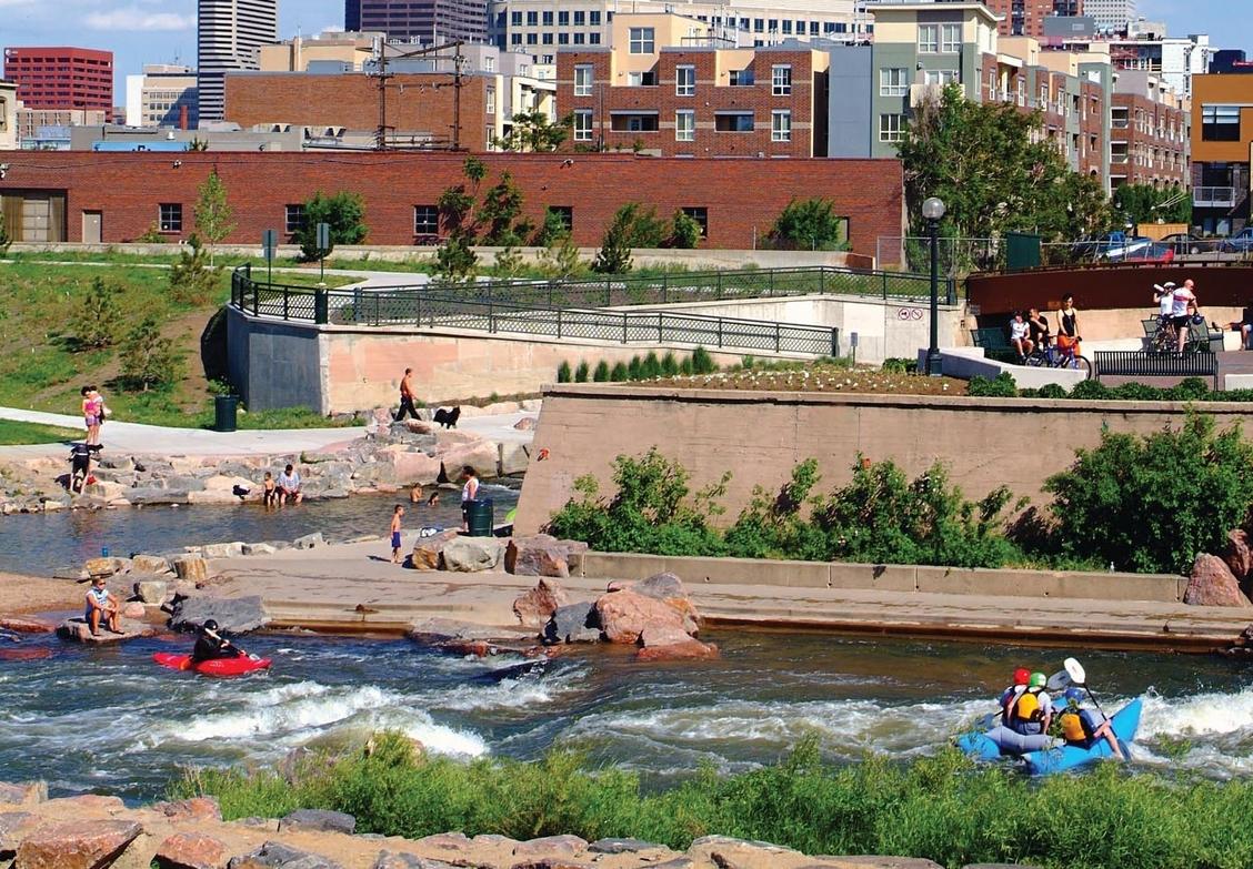 Citizens enjoying water recreation at Denver's Confluence Park (Denver, CO) Photo: Denver Convention & Visitors Bureau
