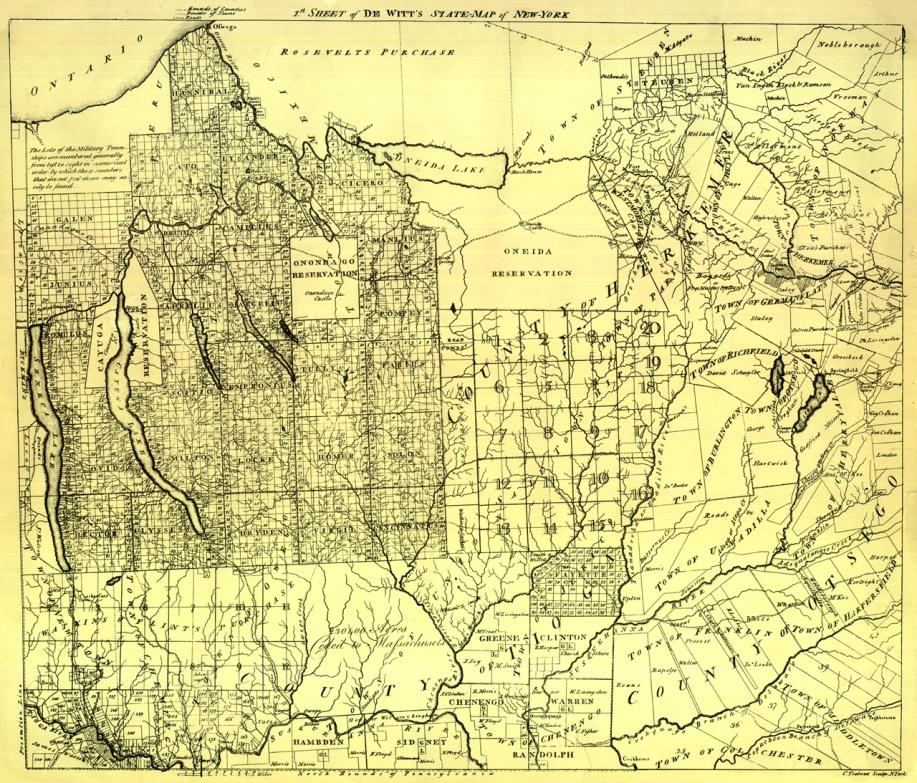 """1st Sheet of DeWitt's State Map of New York"" (1792) from Aleksandr Mergold - ""Sural Atlas of Central New York"""