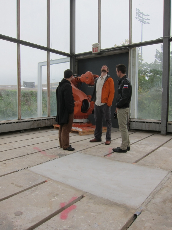Fabio Gramazio lecture visit to the glass cube with Ryan Johns and Forrest Meggers - great lecture and discussion