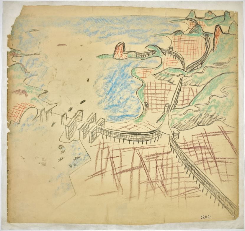 Le Corbusier. Urban plan for Rio de Janeiro. 1929. Aerial perspective with Guanabara Bay, the center and the beaches.  Fondation Le Corbusier, Paris. © 2013 Artists Rights Society (ARS), New York/ADAGP, Paris/FLC
