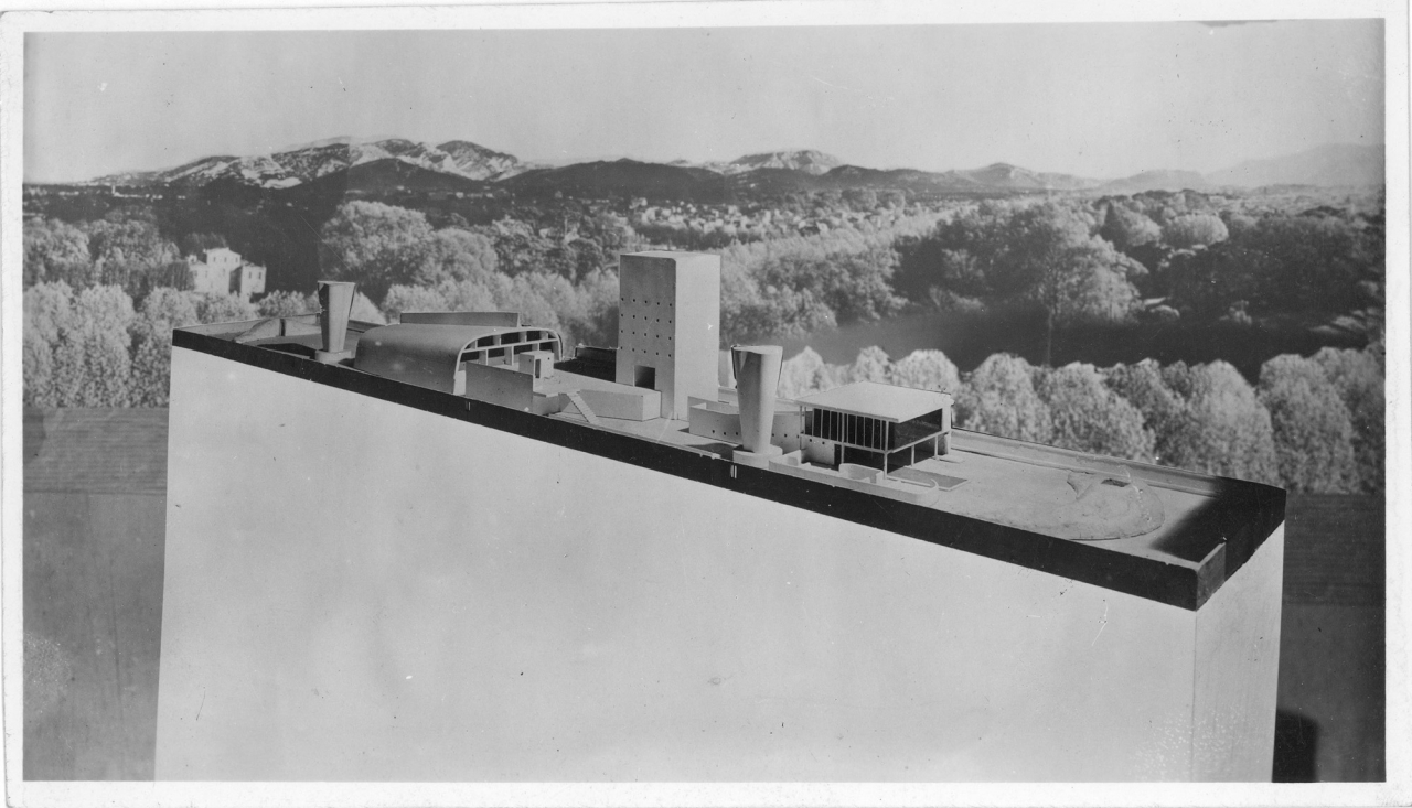 Le Corbusier. Unité d'habitation, Marseille. 1946-52. View of the model of the roof terrace, mounted on a background of the Provence landscape.  Fondation Le Corbusier, Paris. © 2013 Artists Rights Society (ARS), New York / ADAGP, Paris / FLC